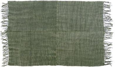 Vloerkleed Linnen - Legergroen - 155 x 215 cm - met franjes - HK Living